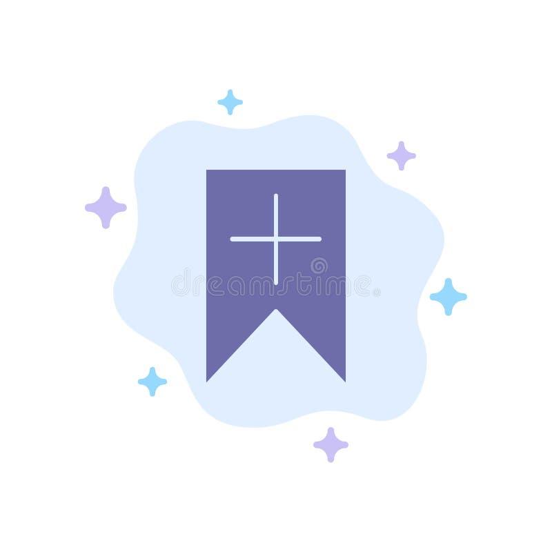 抽象云背景上的标记、加号、界面、用户蓝色图标 库存例证