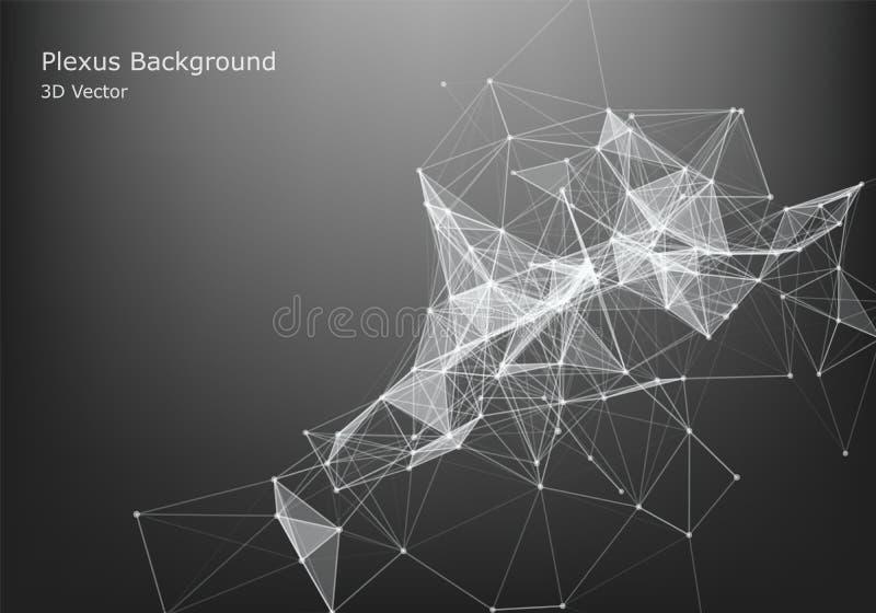 抽象互联网连接和技术图形设计 未来派的数据 与连接的小点和线的低多形状在黑暗 皇族释放例证