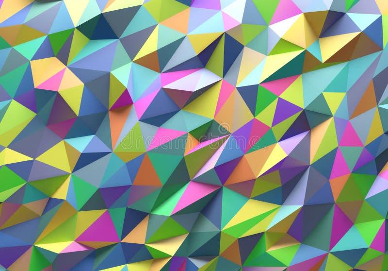 抽象五颜六色的三角几何背景 库存例证