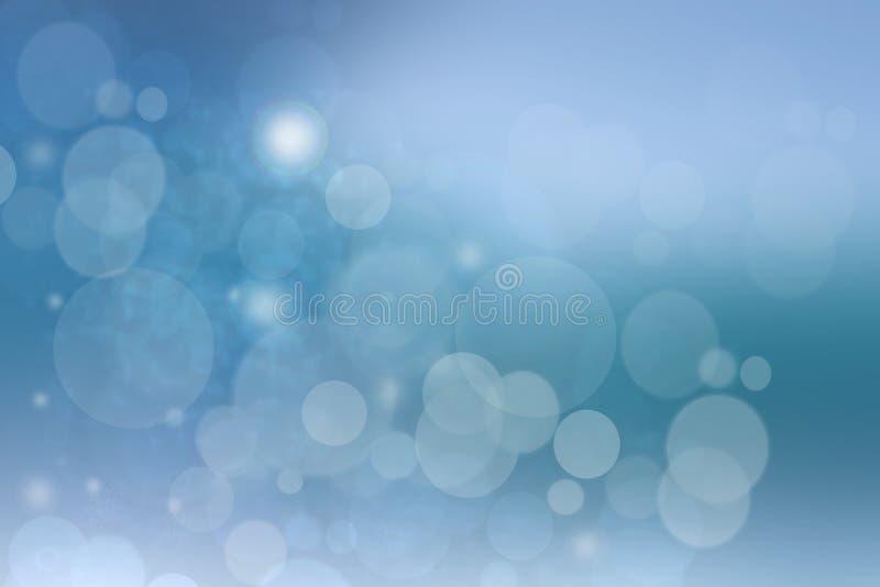 抽象五颜六色的与白色和蓝色bokeh圈子的迷离蓝色纹理背景在软的颜色样式 在水面下的模板 库存例证