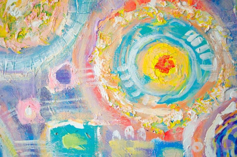 抽象五颜六色的丙烯酸酯的绘画 画布 难看的东西背景 刷子冲程纹理单位 艺术性的背景 库存例证