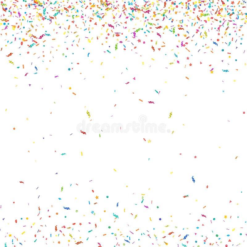 抽象五颜六色的五彩纸屑背景 在白色 传染媒介假日例证 皇族释放例证