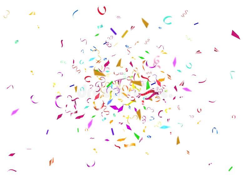 抽象五颜六色的五彩纸屑背景 在空白背景 库存例证
