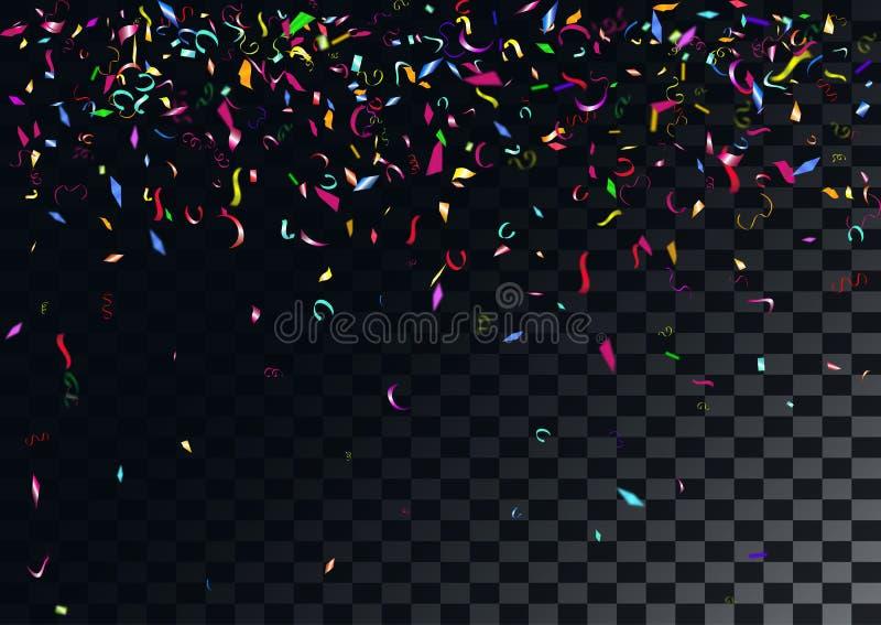 抽象五颜六色的五彩纸屑背景 在透明背景 向量例证