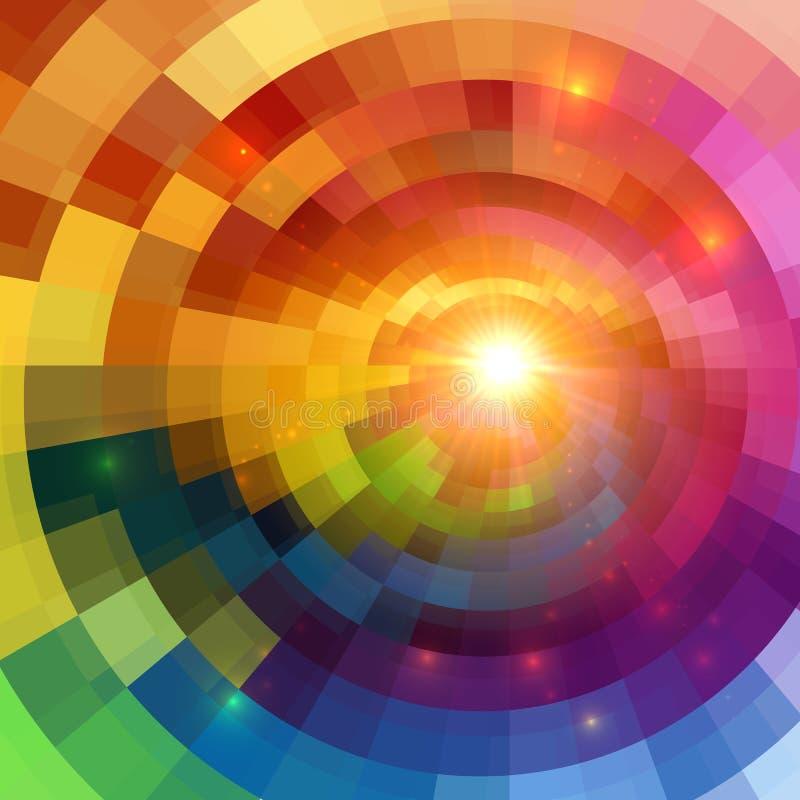 抽象五颜六色的光亮的圈子隧道背景 皇族释放例证