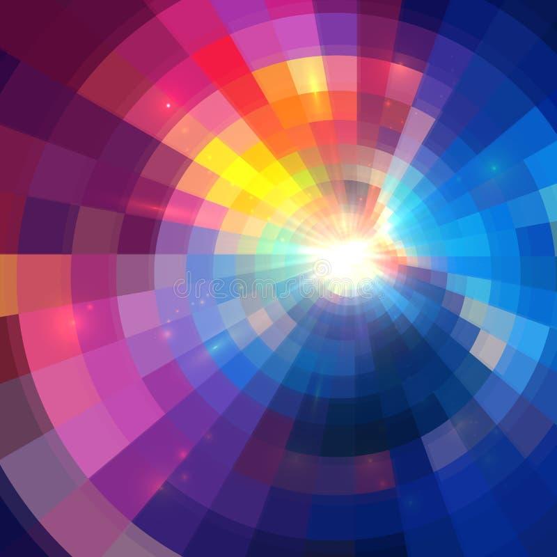 抽象五颜六色的光亮的圈子隧道背景 向量例证