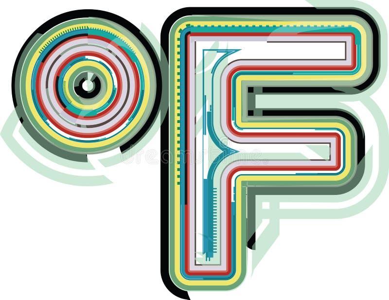 抽象五颜六色的华氏标志 库存例证