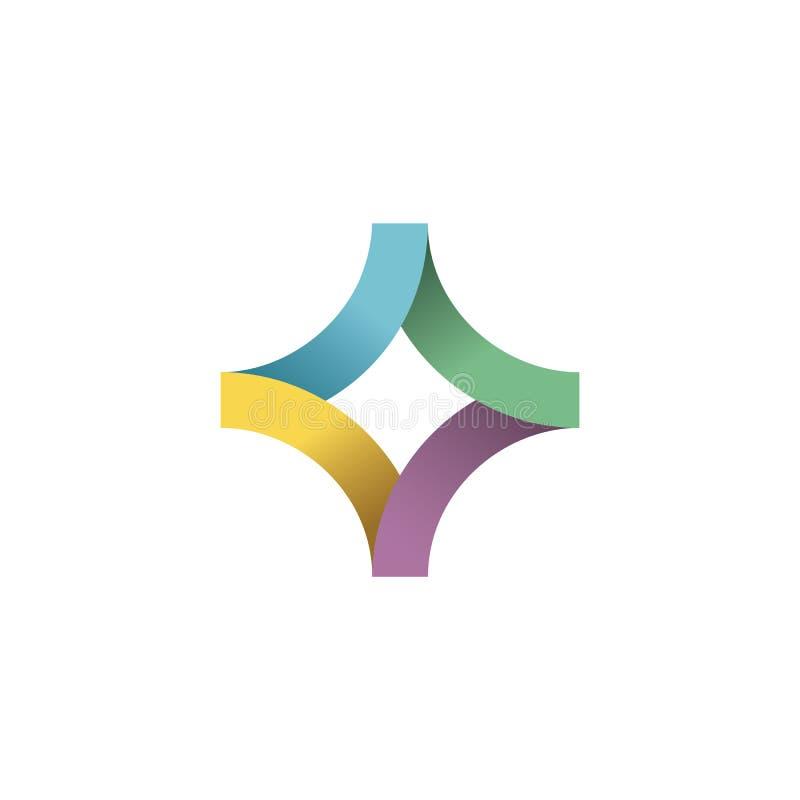 抽象五颜六色的发怒医疗商标模板 向量例证
