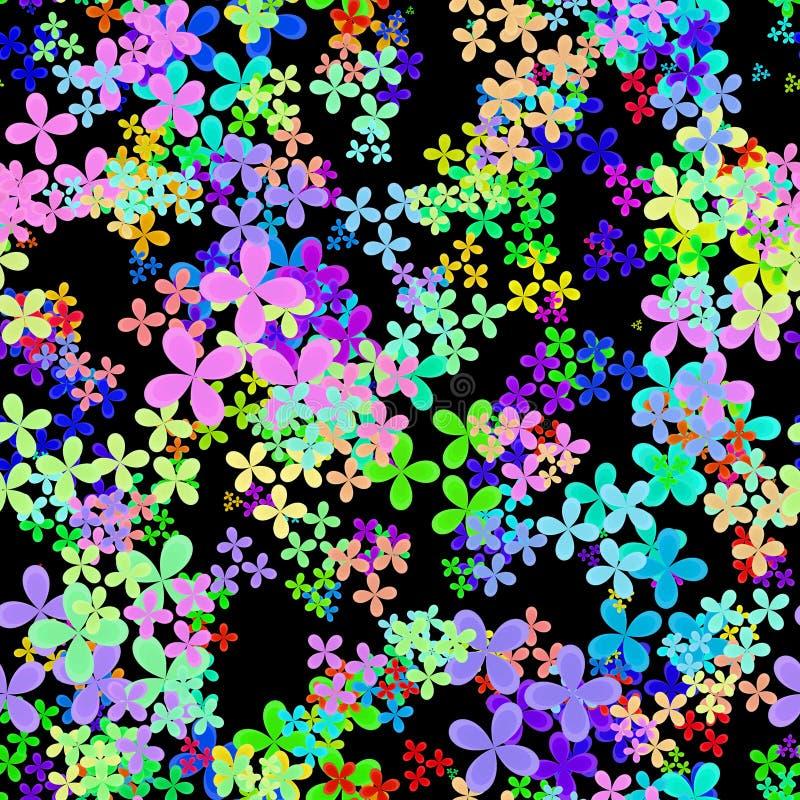 抽象五颜六色的叶子,多色花卉样式,在彩虹颜色的叶茂盛纹理,无缝的四片叶子三叶草例证 皇族释放例证
