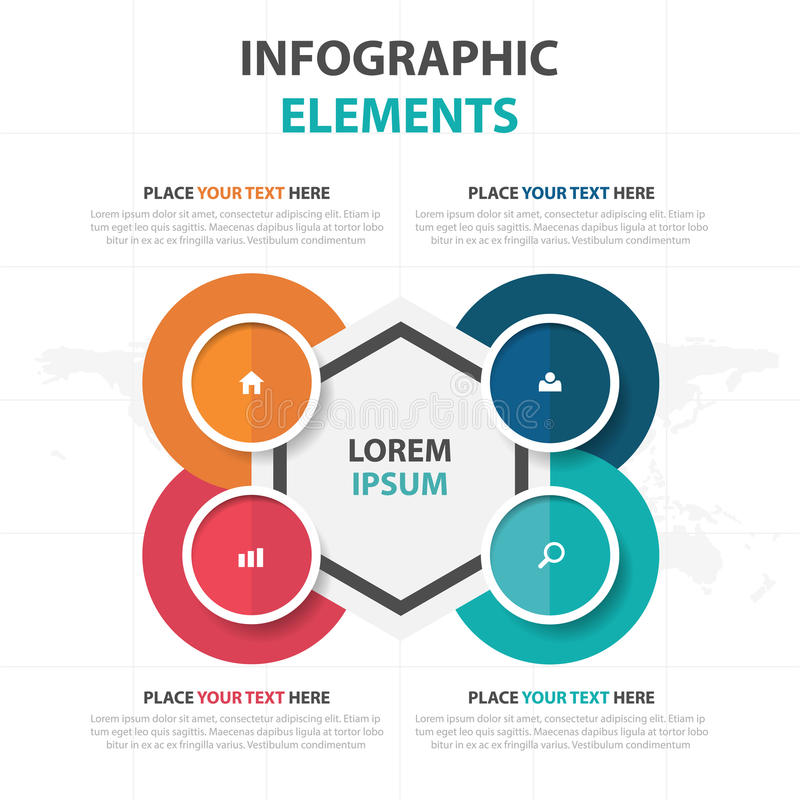 抽象五颜六色的圈子六角形企业时间安排Infographics元素,介绍模板平的设计传染媒介例证 向量例证