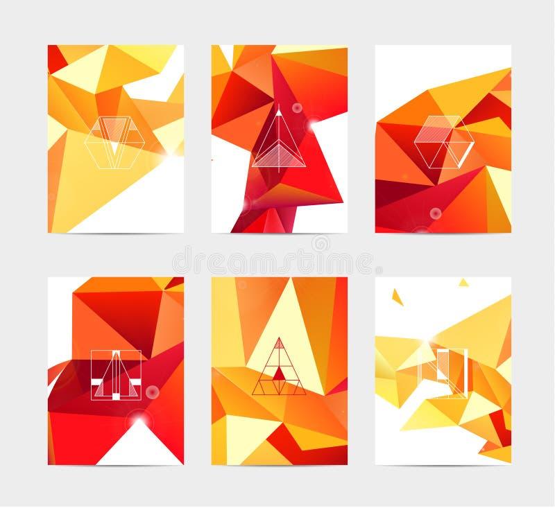 抽象五颜六色的在几何三角样式的用户界面模板集合汇集标签 向量例证