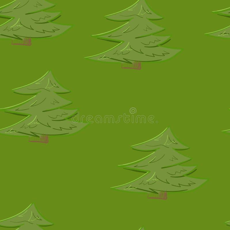 抽象五颜六色的在动画片样式的树森林无缝的样式背景 库存照片