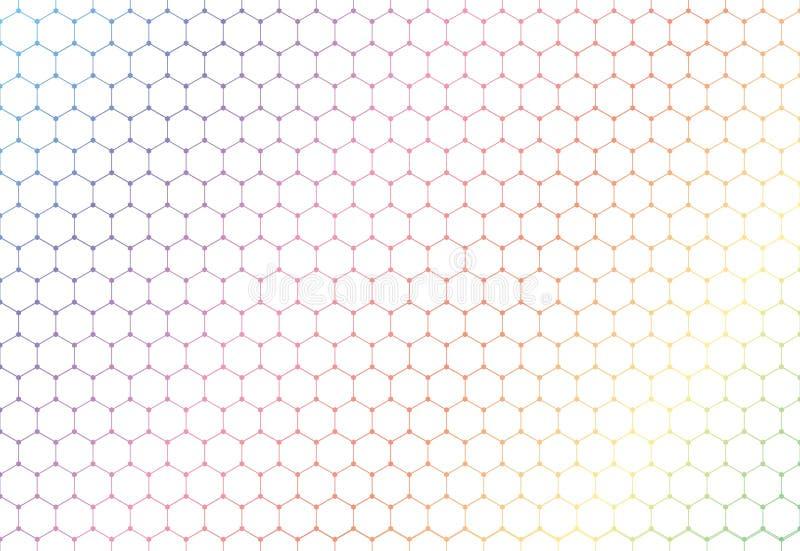 抽象五颜六色的在白色背景和纹理的六角形无缝的样式 向量例证