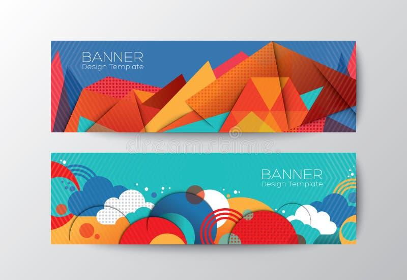 抽象五颜六色的多角形横幅设计模板 库存例证