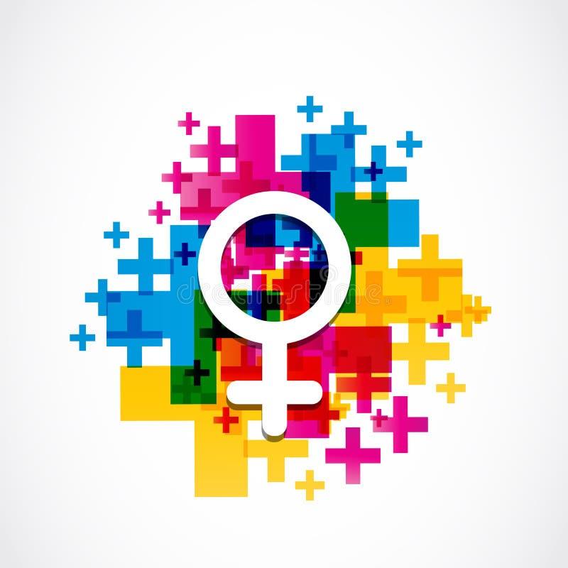 抽象五颜六色的女性性别标志 向量例证