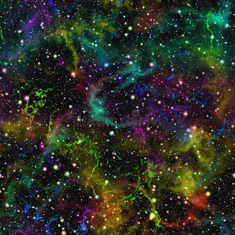 抽象五颜六色的宇宙,彩虹星云夜满天星斗的天空,多色外层空间,无缝的太空星群的纹理背景 免版税库存照片