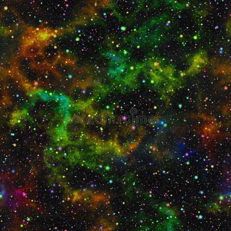 抽象五颜六色的宇宙,星云夜满天星斗的天空,多色外层空间,太空星群的纹理背景,无缝的例证 免版税库存图片