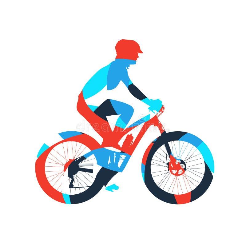 抽象五颜六色的山骑自行车者 库存例证