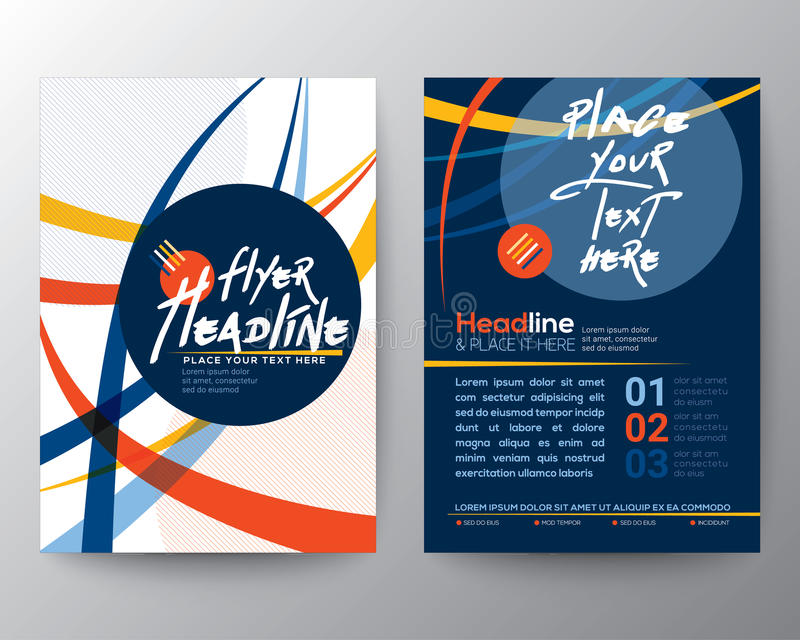 抽象五颜六色的弯曲的线形海报小册子飞行物设计 皇族释放例证