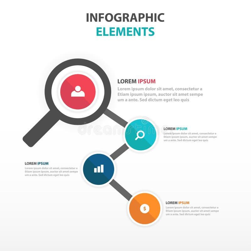 抽象五颜六色的放大器企业Infographics元素,网络设计的介绍模板平的设计传染媒介例证 库存例证