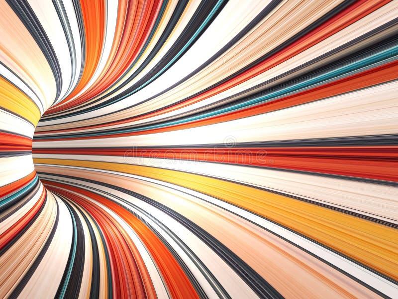 抽象五颜六色的数字式背景, 3d隧道 库存例证