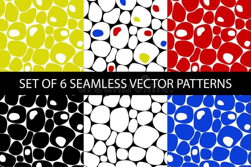 抽象五颜六色的无缝的传染媒介小卵石样式集合 向量例证