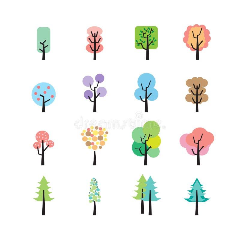 抽象五颜六色的树象集合,传染媒介eps10 库存例证