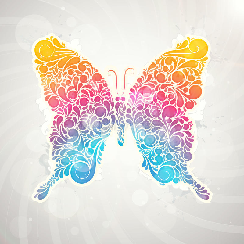 抽象五颜六色的样式花卉蝴蝶 库存例证