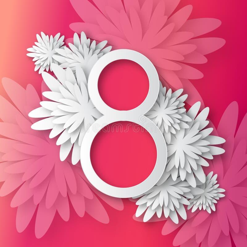 抽象五颜六色的桃红色花卉贺卡-国际愉快的妇女的天- 3月8日假日 库存例证