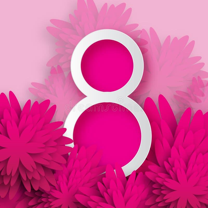 抽象五颜六色的桃红色花卉贺卡-国际愉快的妇女的天- 3月8日假日 皇族释放例证