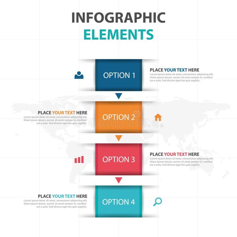 抽象五颜六色的正文框企业Infographics元素,网络设计的介绍模板平的设计传染媒介例证 向量例证