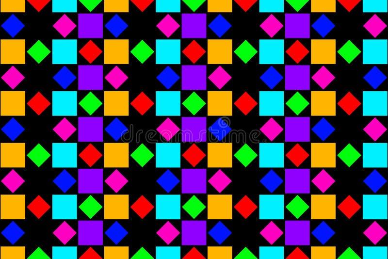 抽象五颜六色的正方形和金刚石 向量例证