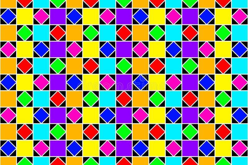 抽象五颜六色的正方形和金刚石 皇族释放例证