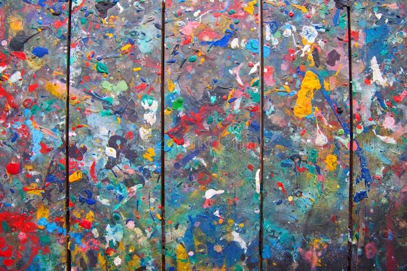 抽象五颜六色的油漆刷子抚摸纹理背景 免版税库存照片