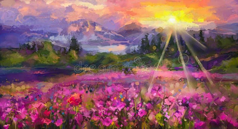 抽象五颜六色的油画紫色波斯菊花 向量例证