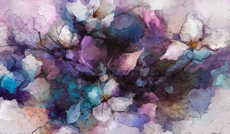 抽象五颜六色的油,春天花丙烯酸酯的绘画  在帆布的手画刷子冲程 库存例证