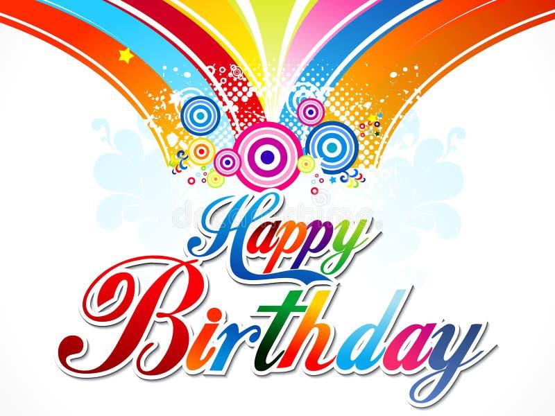 抽象五颜六色的生日快乐背景 向量例证
