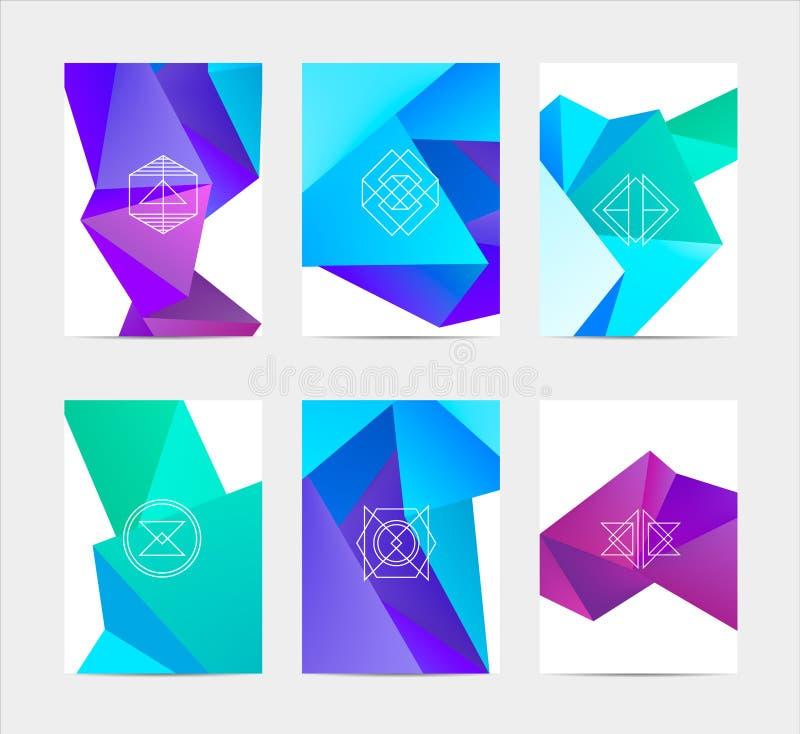 抽象五颜六色的用户界面模板集合 库存例证