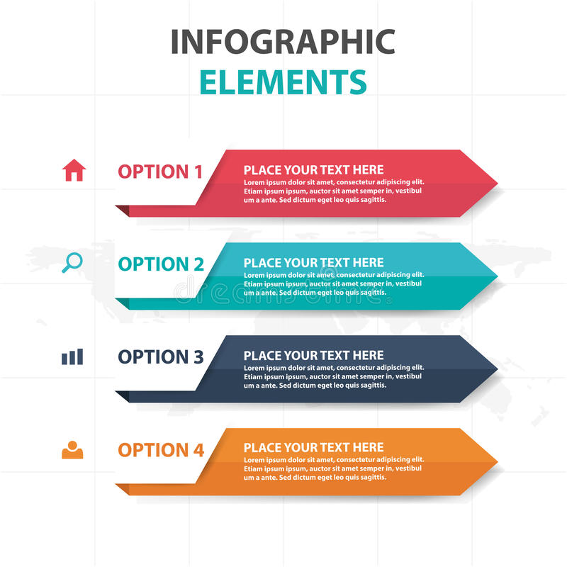 抽象五颜六色的箭头企业Infographics元素,网络设计的介绍模板平的设计传染媒介例证 库存例证