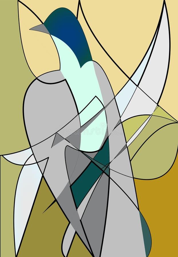 抽象五颜六色的背景丝毫传统化了在灰棕色的鸽子 皇族释放例证