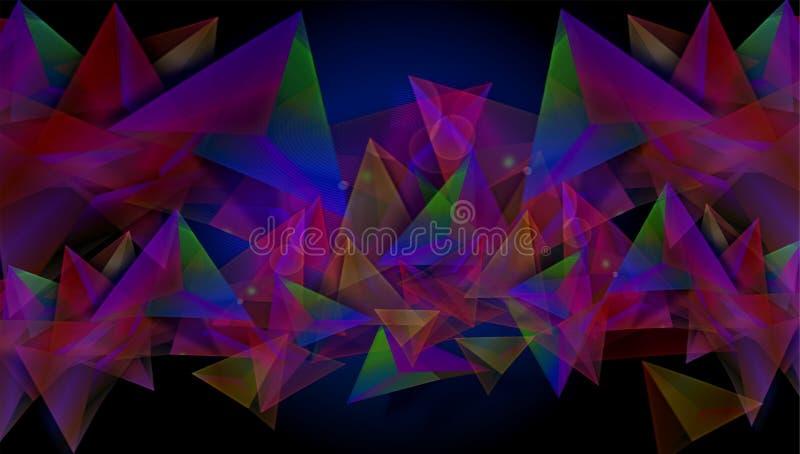 抽象五颜六色的背景以几何形式,与黑色在例证绝对底部  向量例证