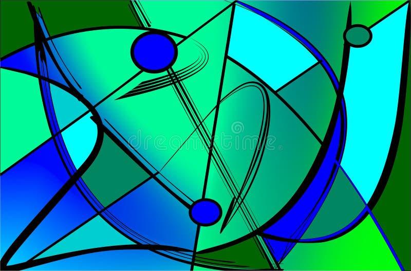 抽象五颜六色的背景,绿灯,花梢geometrics塑造,污迹玻璃窗 向量例证