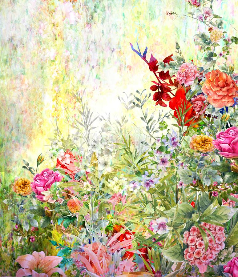 抽象五颜六色的花水彩绘画 春天 库存例证