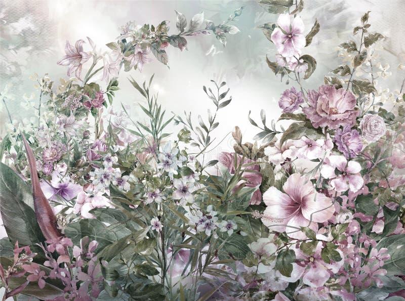 抽象五颜六色的花水彩绘画 春天 皇族释放例证