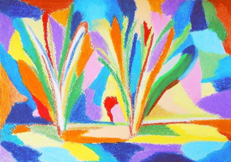 抽象五颜六色的蜡笔画 向量例证
