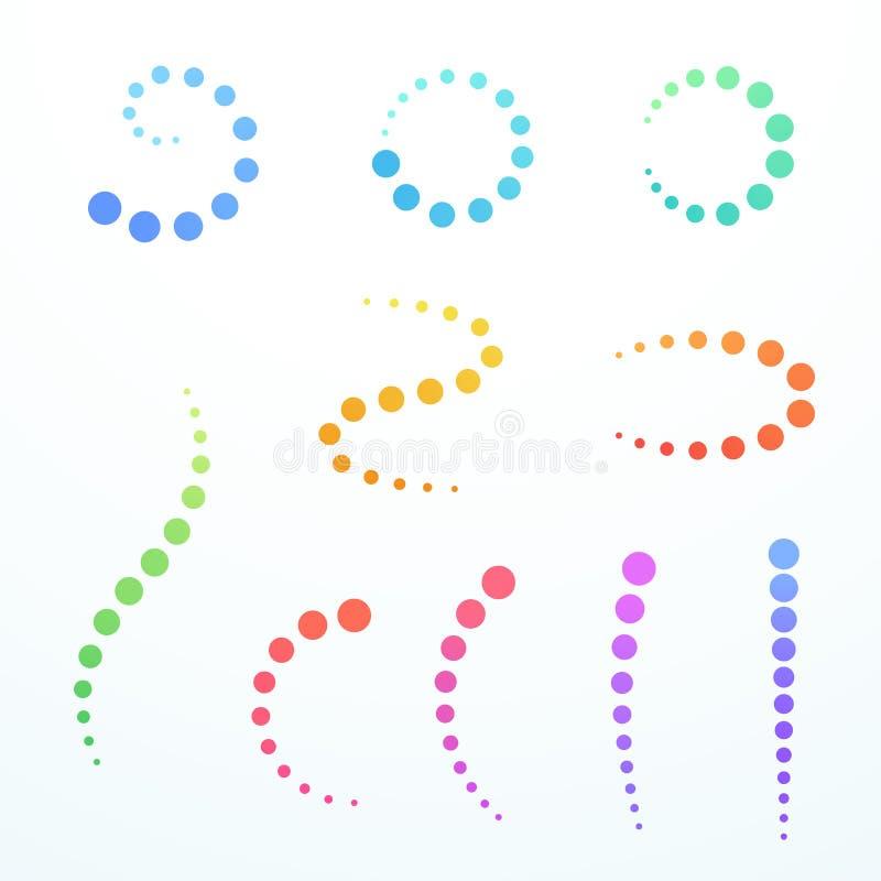 抽象五颜六色的被设置的梯度圈子弯曲的漩涡形状 库存例证