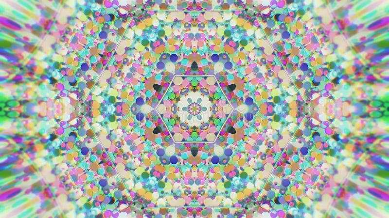 抽象五颜六色的被绘的万花筒图表背景 与纹理的未来派荧光的催眠背景样式 库存例证