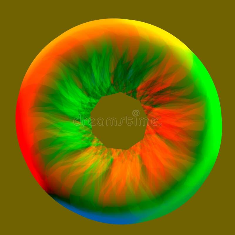 抽象五颜六色的视网膜- 3D例证 库存照片