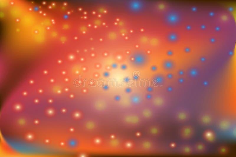 抽象五颜六色的转弯形状和眨眼睛小点 库存例证