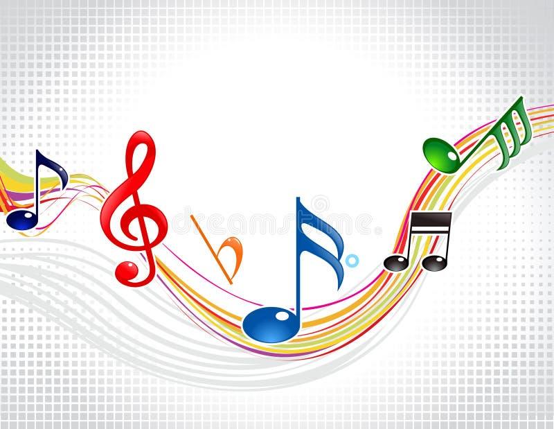 抽象五颜六色的音乐通知 向量例证